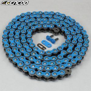Chaîne moto 420 bleue Gencod